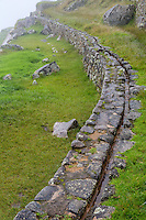 Peru, Machu Picchu.  Canal Bringing Water from a Mountain Spring to the Inner City.