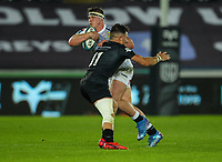 8th October 2021;  Swansea.com Stadium, Swansea, Wales; United Rugby Championship, Ospreys versus Sharks; James Venter of Cell C Sharks is tackled by Luke Morgan of Ospreys