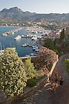 Corsica, France, Calvi, Yacht harbor from the Citadel, West Coast Corsica,  French coastal villages, Mediterranean Sea, Europe,.