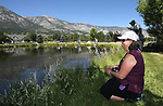 Breast cancer survivor Amy Nicolai learns from guide Rob Brehm during a Casting for Recovery retreat in Gardnerville, Nev., on Friday, June 30, 2017. <br /> Photo by Cathleen Allison/Nevada Photo Source