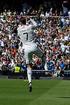 Real Madrid´s Cristiano Ronaldo celebrates a goal during 2014-15 La Liga match between Real Madrid and Eibar at Santiago Bernabeu stadium in Madrid, Spain. April 11, 2015. (ALTERPHOTOS/Luis Fernandez)