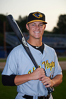 West Virginia Black Bears second baseman Logan Ratledge (12) poses for a photo before a game against the Batavia Muckdogs on August 31, 2015 at Dwyer Stadium in Batavia, New York.  Batavia defeated West Virginia 5-4.  (Mike Janes/Four Seam Images)