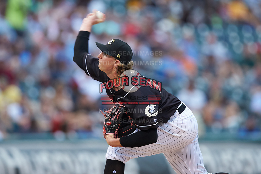 Charlotte Knights starting pitcher Michael Kopech (34) in action against the Pawtucket Red Sox at BB&T BallPark on July 19, 2018 in Charlotte, North Carolina. The Knights defeated the Red Sox 4-3.  (Brian Westerholt/Four Seam Images)