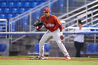 GCL Phillies first baseman Edwin Rodriguez (30) during the second game of a doubleheader against the GCL Blue Jays on August 15, 2016 at Florida Auto Exchange Stadium in Dunedin, Florida.  GCL Phillies defeated the GCL Blue Jays 4-0.  (Mike Janes/Four Seam Images)