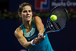 Julia Goerges of Germany hits a return during the singles semi final match of the WTA Elite Trophy Zhuhai 2017 against Anastasija Sevastova of Latvia at Hengqin Tennis Center on November  04, 2017 in Zhuhai, China. Photo by Yu Chun Christopher Wong / Power Sport Images