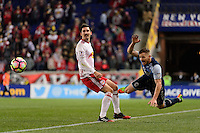 Harrison, NJ - Wednesday Feb. 22, 2017: Sacha Kljestan, Jordan Harvey during a Scotiabank CONCACAF Champions League quarterfinal match between the New York Red Bulls and the Vancouver Whitecaps FC at Red Bull Arena.