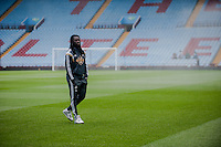 Re: Saturday 21st March 2015 <br /> Pictured: Bafetimbi Gomis of Swansea City  walks on the ground at Villa Park <br /> Re: Barclays Premier League Aston Vila v Swansea City at Villa Park, Birmingham, UK