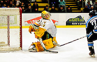 29 January 2010: University of Vermont Catamount goaltender Rob Madore, a Sophomore from Venetia, PA, makes a skate save during the first period against the University of Maine Black Bears at Gutterson Fieldhouse in Burlington, Vermont. The Black Bears defeated the Catamounts 6-3 in the first game of their America East weekend series. Mandatory Credit: Ed Wolfstein Photo