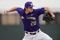 Washington Huskies pitcher Troy Rallings (28) delivers a pitch to the plate during the NCAA baseball game against the Michigan Wolverines on February 16, 2014 at Bobcat Ballpark in San Marcos, Texas. The game went eight innings, before travel curfew ended the contest in a 7-7 tie. (Andrew Woolley/Four Seam Images)