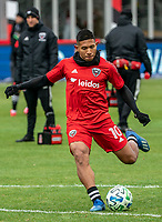 WASHINGTON, DC - FEBRUARY 29: Edison Flores #10 of DC United takes a shot during a game between Colorado Rapids and D.C. United at Audi Field on February 29, 2020 in Washington, DC.