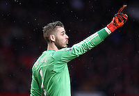 Manchester United goalkeeper David De Gea points during the Barclays Premier League match between Manchester United and Swansea City played at Old Trafford, Manchester on January 2nd 2016