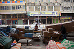 BAGHDAD, IRAQ: Men move goods through the streets on wooden pushcarts in the old Shorja market in Baghdad...Despite an increase in violence across Iraq, daily life continues as normal in Baghdad...Photo by Ali Arkady/Baghdad