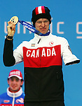 Sochi, Russia, 12/03/2014. Canadian Biathlete Mark Arendz celebrates his bronze medal win in the 12.5km standing event at the Sochi 2014 Paralympic Winter Games in Sochi Russia. (Photo Scott Grant/Canadian Paralympic Committee)