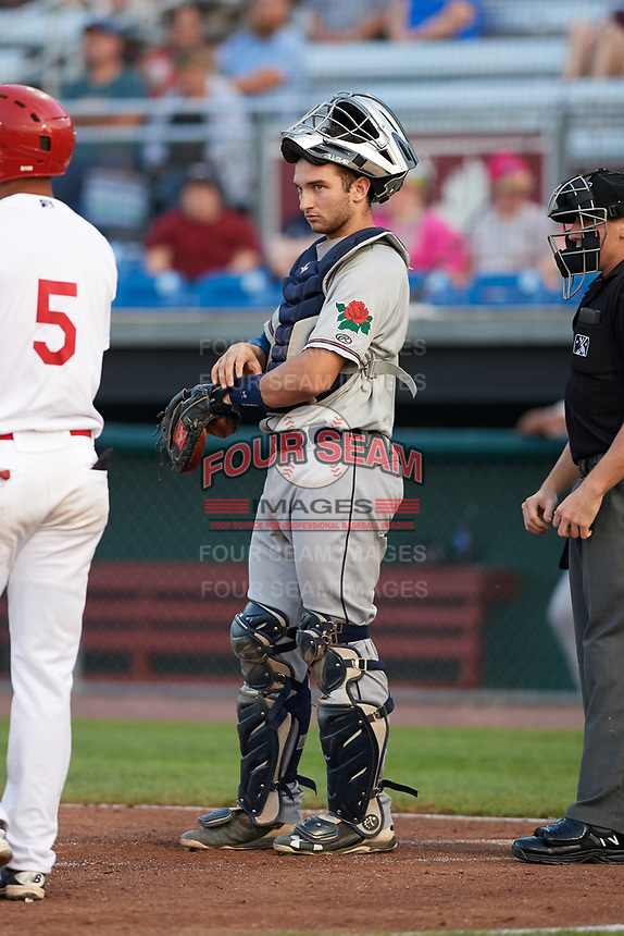 Connecticut Tigers catcher Joey Morgan (9) during a game against the Auburn Doubledays on August 10, 2017 at Falcon Park in Auburn, New York.  Connecticut defeated Auburn 4-1.  (Mike Janes/Four Seam Images)