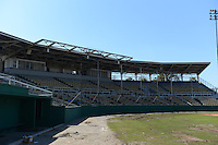 General view of the Tinker Field grand stand, a former spring training site for the Cincinnati Reds, Brooklyn Dodgers, Washington Senators, and Minnesota Twins as well as a minor league stadium, that is possibly being demolished with some portions moved due to renovations at the Citrus Bowl;  February 19, 2014 at Tinker Field in Orlando, Florida.  (Mike Janes/Four Seam Images)