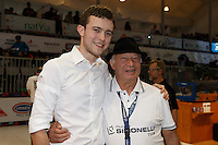 MELBOURNE, 26 MAY - Matthew Perger from Australia pose for a photograph with Gianni Cassatini from Nuova Simonelli at the World Barista Championship 2013 in Melbourne, Australia. Photo Sydney Low / syd-low.com