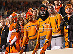 Oklahoma State Cowboys fans in action during the game between the Oklahoma Sooners and the Oklahoma State Cowboys at the Boone Pickens Stadium in Stillwater, OK. Oklahoma State defeats Oklahoma 44 to 10..