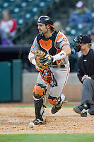 Sam Houston State Bearkats catcher Anthony Azar #20 chases after a wild pitch during the game against the Texas Christian Horned Frogs at Minute Maid Park on February 28, 2014 in Houston, Texas.  The Bearkats defeated the Horned Frogs 9-4.  (Brian Westerholt/Four Seam Images)