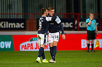 27th March 2021; Dens Park, Dundee, Scotland; Scottish Championship Football, Dundee FC versus Dunfermline; Lee Ashcroft of Dundee is congratulated after scoring for 3-2 by Danny Mullen