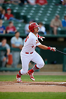 Peoria Chiefs third baseman Danny Hudzina (26) follows through on a swing during a game against the West Michigan Whitecaps on May 9, 2017 at Dozer Park in Peoria, Illinois.  Peoria defeated West Michigan 3-1.  (Mike Janes/Four Seam Images)