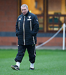 Ally McCoist looking miserable in the freezing rain