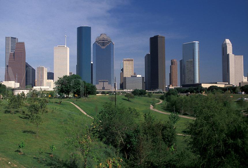 AJ1833, Houston, Texas, skyline, high rise, Skyline of downtown Houston from Tranquility Park.
