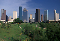 AJ1833, Houston, Texas, skyline, high rise, Skyline of downtown Houston from Tranquility Park.