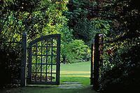 GARDEN GATE.entrance, exit, beginning, portal, door. VANCOUVER BRITISH COLUMBIA CANADA.
