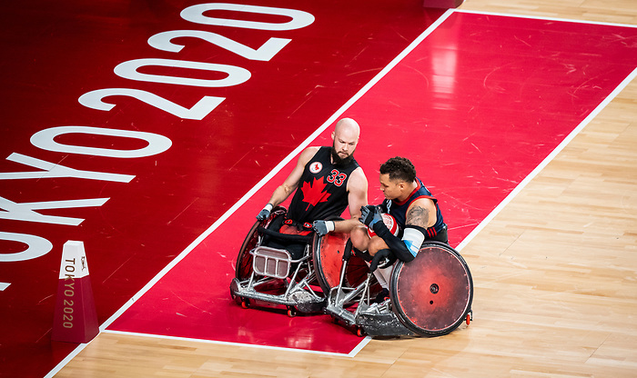 Zak Madell, Tokyo 2020 - Wheelchair Rugby // Rugby en fauteuil roulant.<br /> Canada takes on The USA in the preliminary round //Le Canada affronte Les Etats-Unis d'Amérique au tour préliminaire. 26/08/2021.