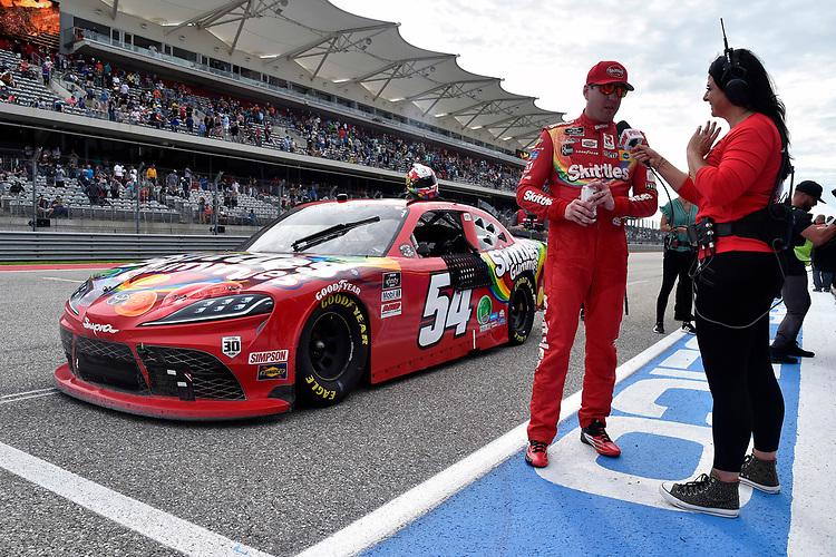#54: Kyle Busch, Joe Gibbs Racing, Toyota Supra Skittles Gummies Celebrates his win