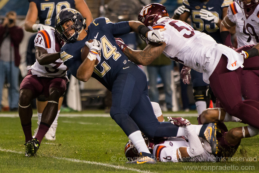 Pitt running back James Conner (24). The Virginia Tech Hokies defeated the Pitt Panthers 39-36 on October 27, 2016 at Heinz Field in Pittsburgh, Pennsylvania.
