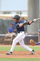 Aldemar Burgos (12) of the AZL Padres bats during a game against the AZL Rangers at the San Diego Padres Spring Training Complex on July 5, 2015 in Peoria, Arizona. Padres defeated Rangers, 9-2. (Larry Goren/Four Seam Images)