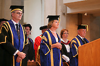 Dinitaries at the degree ceremony, University of Surrey.  The Vice Chancellor, Prof. Chris Snowden and The Pro-Chancellor, actress Penelope Keith.