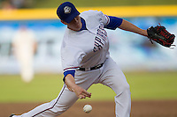 Round Rock Express pitcher Ben Rowen (17) delivers a pitch to the plate during the Pacific Coast League baseball game against the Salt Lake Bees on August 10, 2013 at the Dell Diamond in Round Rock, Texas. Round Rock defeated Salt Lake 9-6. (Andrew Woolley/Four Seam Images)