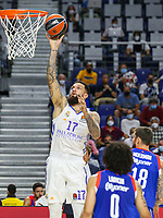 30th September 2021; Madrid, Spain:  Euroleague Basketball, Real Madrid versus Anadolu Efes Istanbul;  Vincent Poirier of team Real Madrid scores for 2 points during the Matchday 1 between Real Madrid and Anadolu Efes Istanbul