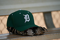 Dartmouth Big Green hat and glove on the bench during a game against the Indiana State Sycamores on February 21, 2020 at North Charlotte Regional Park in Port Charlotte, Florida.  Indiana State defeated Dartmouth 1-0.  (Mike Janes/Four Seam Images)