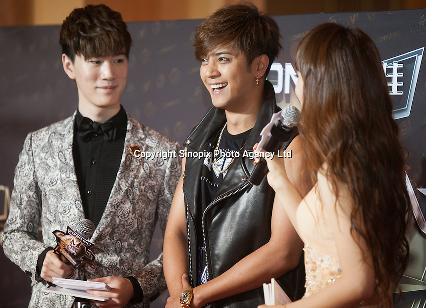 Show Lo from Taiwan, winner of the Channel [V] Hot Singer of the Year Award, is seen on the red carpet at the 18th Channel [V] China Music Awards and Asian Influential Power Grand Ceremony at the Venetian Macau Casino in Macau, China, 23 April 2014