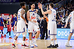 Real Madrid's Trey Thompkins, Gustavo Ayon and Luka Doncic during Turkish Airlines Euroleague match between Real Madrid and FC Barcelona Lassa at Wizink Center in Madrid, Spain. March 22, 2017. (ALTERPHOTOS/BorjaB.Hojas)