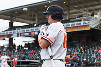 Oregon State Beavers first baseman Zak Taylor (16) on deck during a game against the New Mexico Lobos on February 15, 2019 at Surprise Stadium in Surprise, Arizona. Oregon State defeated New Mexico 6-5. (Zachary Lucy/Four Seam Images)