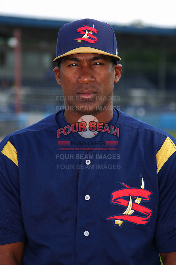 State College Spikes outfielder Carlos Mesa #41 poses for a photo before a game against the Batavia Muckdogs at Dwyer Stadium on July 7, 2011 in Batavia, New York.  Batavia defeated State College 16-3.  (Mike Janes/Four Seam Images)