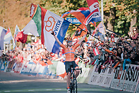 Anna van der Breggen (NED) wins after a long solo move at UCI Road World Championships 2018 - Elite Women's Road Race<br /> <br /> WOMEN ELITE ROAD RACE<br /> Kufstein to Innsbruck: 156.2 km<br /> <br /> UCI 2018 Road World Championships<br /> Innsbruck - Tirol / Austria