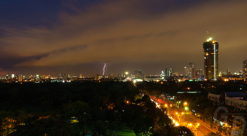 Lightning strike over Manila, Philippines Weather