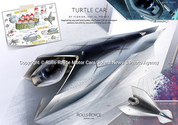 Pictured: Rolls-Royce Turtle Car, by Florian aged 16, France. Fantasy Category Winner in the Rolls-Royce young designer competition.<br /> <br /> Rolls Royce has unveiled what may be the future of motor transport - a car based on a bumblebee and powered by honey.  The prestigious British car manufacturer brought to life a series of the best futuristic concepts, including the outlandish bee car which features wings and was designed by an 11 year old schoolgirl.<br /> <br /> More than 5,000 designs and blueprints were submitted by children across 80 countries as part of a competition during lockdown. The firm's design team at Goodwood, West Sussex, then used the same software they would for a real Rolls-Royce project to digitally enhance the drawings. SEE OUR COPY FOR DETAILS.<br /> <br /> Please byline: Rolls-Royce Motor Cars/Solent News<br /> <br /> © Rolls-Royce Motor Cars/Solent News & Photo Agency<br /> UK +44 (0) 2380 458800