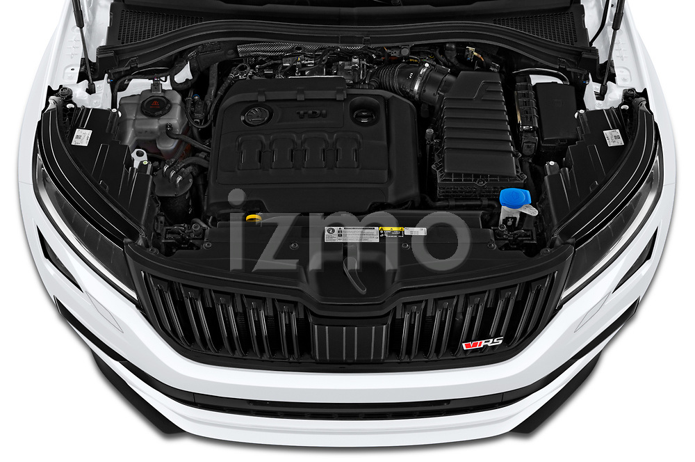 Car Stock 2019 Skoda Kodiaq RS 5 Door SUV Engine  high angle detail view