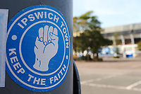 13th September 2020; Portman Road, Ipswich, Suffolk, England, English League One Footballl, Ipswich Town versus Wigan Athletic; A Ipswich Town sticker is seen outside of the ground