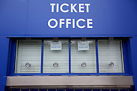 The ticket office displays a sold out sign before the Barclays Premier League match between Leicester City and Swansea City played at The King Power Stadium, Leicester on April 24th 2016
