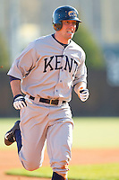 Jason Bagoly (34) of the Kent State Golden Flashes hustles towards third base against the Charlotte 49ers at Robert and Mariam Hayes Stadium on March 8, 2013 in Charlotte, North Carolina.  The 49ers defeated the Golden Flashes 5-4.  (Brian Westerholt/Four Seam Images)