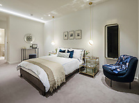 BNPS.co.uk (01202) 558833. <br /> Pic: Savills/BNPS<br /> <br /> Pictured: Hornsey Town Hall show apartment master bedroom. <br /> <br /> Apartments in the grounds of an iconic building where Queen first appeared in concert and the TV series The Crown and Whitechapel were filmed  have gone on sale.<br /> <br /> The new owners will live alongside Hornsey Town Hall, which has appeared in a string of movies and TV programmes including Killing Eve.<br /> <br /> Rock band Queen performed their first concert there in 1971 as a supporting band and part of the 2018 film Bohemian Rhapsody starring Rami Malek was made there.