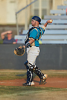 Mooresville Spinners catcher Christian Maggio (31) (Charleston Southern) on defense against the Dry Pond Blue Sox at Moor Park on July 2, 2020 in Mooresville, NC.  The Spinners defeated the Blue Sox 9-4. (Brian Westerholt/Four Seam Images)