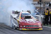 Jul. 20, 2014; Morrison, CO, USA; NHRA funny car driver Tim Wilkerson during the Mile High Nationals at Bandimere Speedway. Mandatory Credit: Mark J. Rebilas-